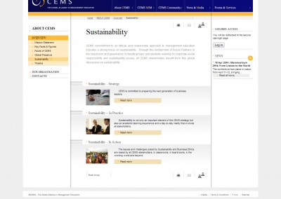 CEMS Sustainability web pages
